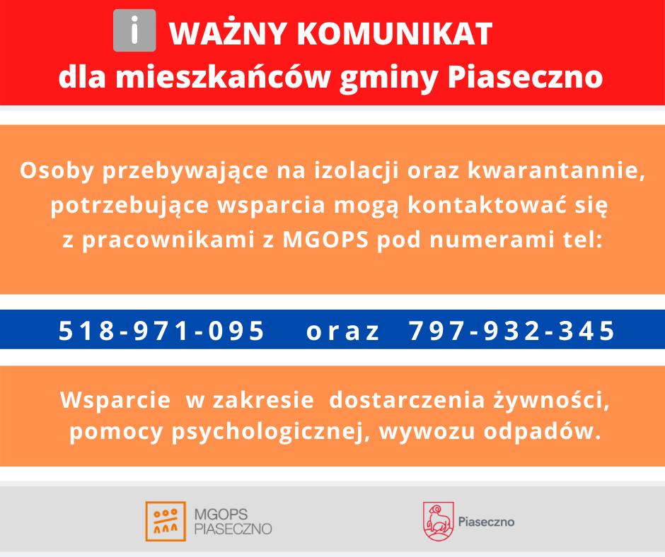 Ważny komunikat dla mieszkańców gminy Piaseczno